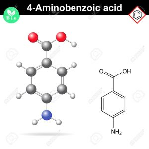 4- Aminobenzoic acid molecule, PABA - main intermediate of vitamin B9, folic acid precursor, 2d and 3d vector illustration, isolated on white background, eps 10